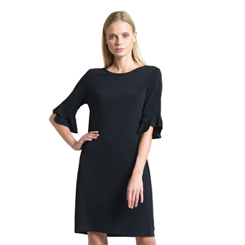 Clara Sunwoo Solid Tulip Cuff Dress in Black - DR33-BLK