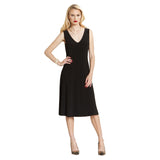 Clara Sunwoo Soft Knit V-Neck Dress in Black  - DR48-BLK