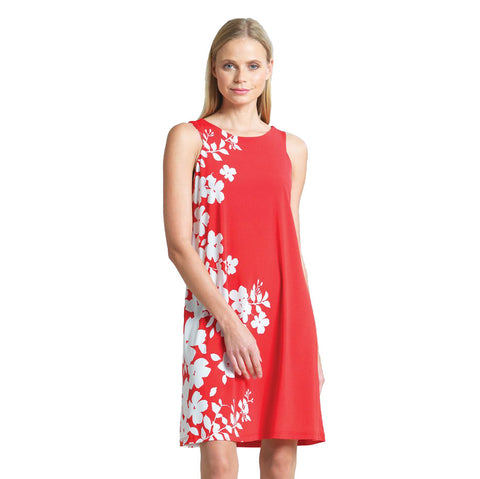 Clara Sunwoo Floral Print Jewel Neck Swing Dress in Coral - DR522P10-CRL