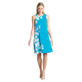 Clara Sunwoo Floral Print Jewel Neck Swing Dress in Turquoise - DR522P10-TQ