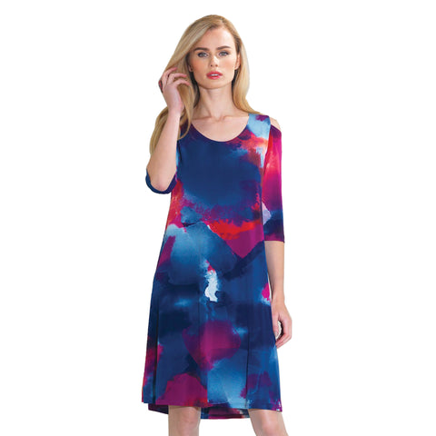 Clara Sunwoo Watercolor Cold Shoulder Dress in Multi - DR527P - Size M Only