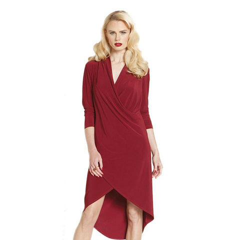 Clara Sunwoo Crossover Tulip Hem Dress in Merlot - DR600L-MRL - Size S Only