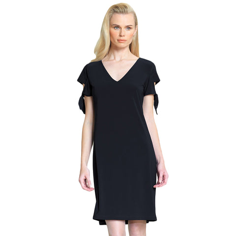 Clara Sunwoo Tie Sleeve Shift Dress in Black - DR77-BK