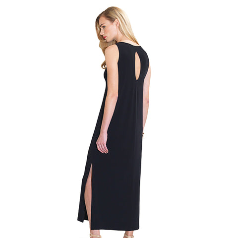 Clara Sunwoo Keyhole Back Side Vent Maxi Dress in Black - DR88-BLK
