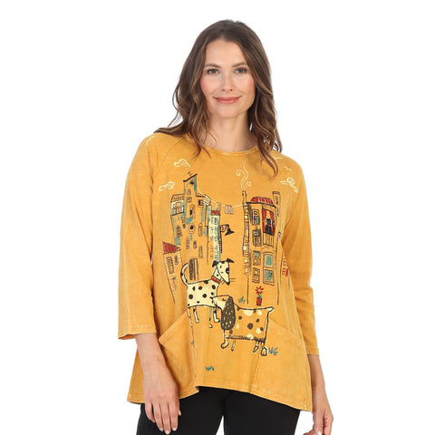 "Jess & Jane ""City Pups"" Mineral Washed Top in Canary - M12-1436"