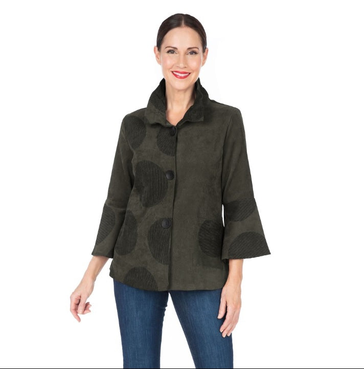Damee Polka Dot Button Front Jacket in Olive - 4559-OLV