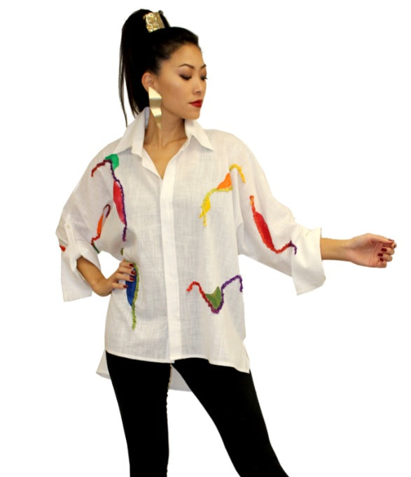Dilemma Fashions Embroidered High-Low Shirt in White - GDB-531-WT