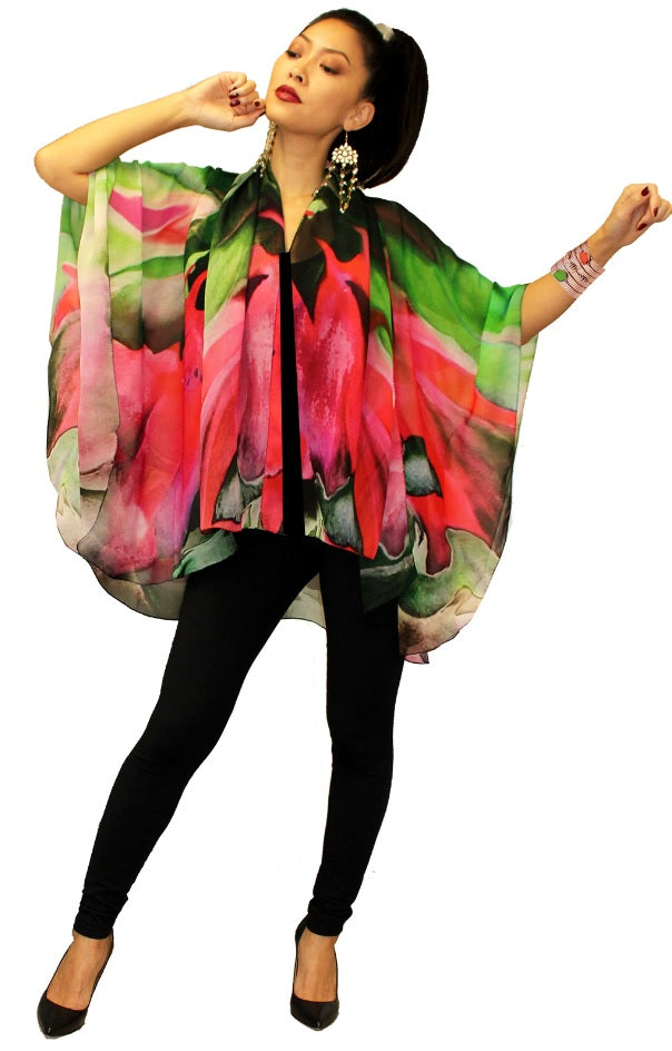 Dilemma O'Keefe Inspired Voluminous Silk Cape - NSCP-103-O'K