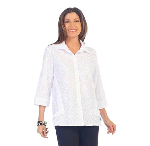 Focus Fashion Embroidered Cotton Voile Shirt in White - EC-106-WT
