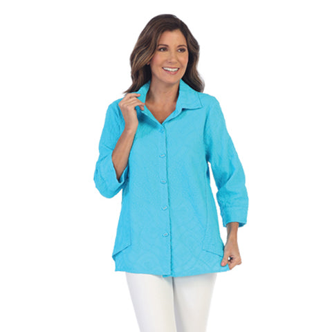 Focus Fashion Embroidered Cotton Voile Shirt in Turquoise  EC-106-TRQ - Size L Only