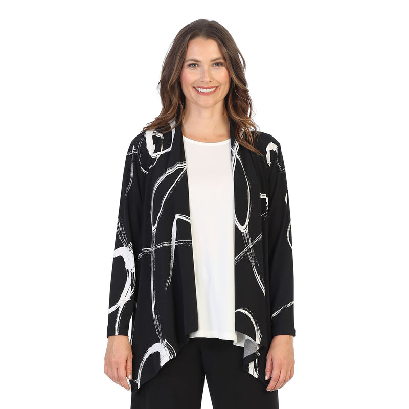 "Jess & Jane ""Olivia"" Soft Drape Knit Cardigan in Black/White - Y4-1421 - Size 3X"