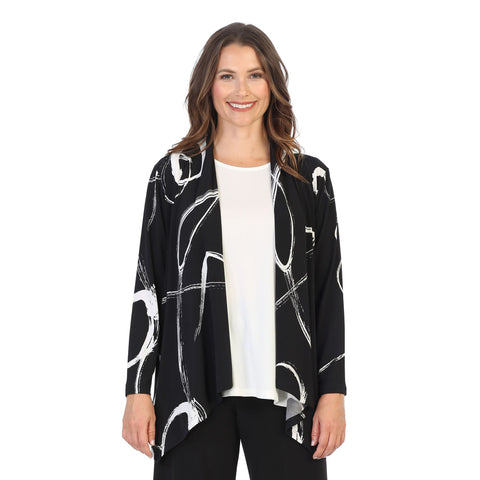 "Jess & Jane ""Olivia"" Soft Drape Knit Cardigan in Black/White - Y4-1421 - Sizes XL & 1X"