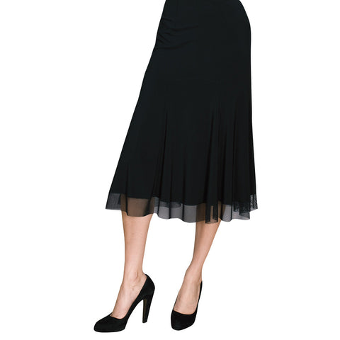 Clara Sunwoo Pull On Mesh Edge Skirt in Black - ESSK-BLK