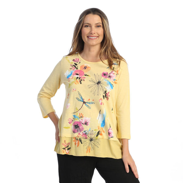 "Jess & Jane ""Clara"" Floral Print Mineral Washed Tunic Top - M48-1566"