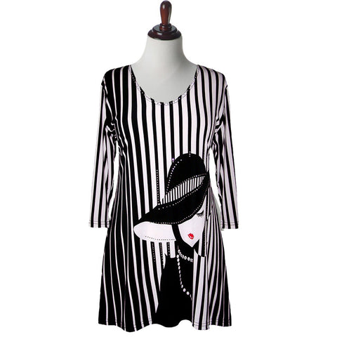 "Valentina Signa ""Lady in Hat"" Striped V-Neck Tunic in Black & White - 12051"