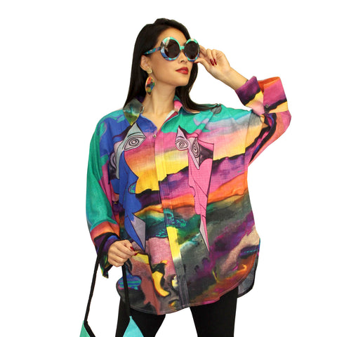 Dilemma Fashions Picasso Inspired Big Shirt   FCBS-123-PIC