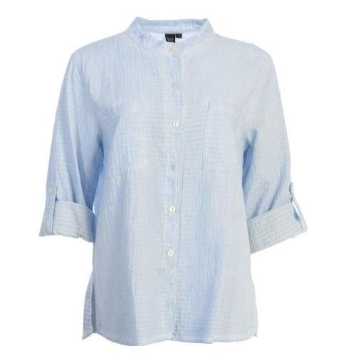 Focus Fashion Cotton Seersucker Button Front Shirt in Sky Blue - CS117-SD