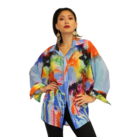 Dilemma Abstract Print Vital Inspired Silk Big Shirt in Blue/Multi - FSBS-304