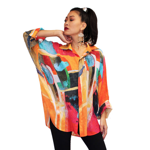 Dilemma Abstract Print Esteve Inspired Silk Big Shirt in Multi - FSBS-305
