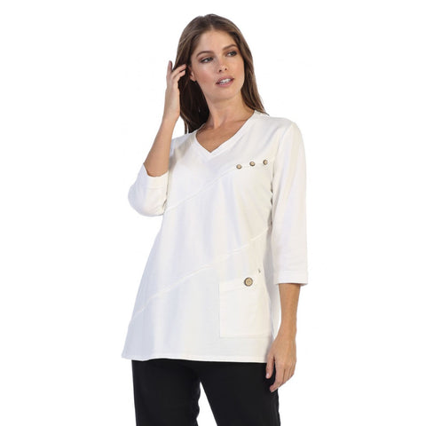 Focus Fashion French Terry V-Neck Tunic Top in White - FT-4015-WHT