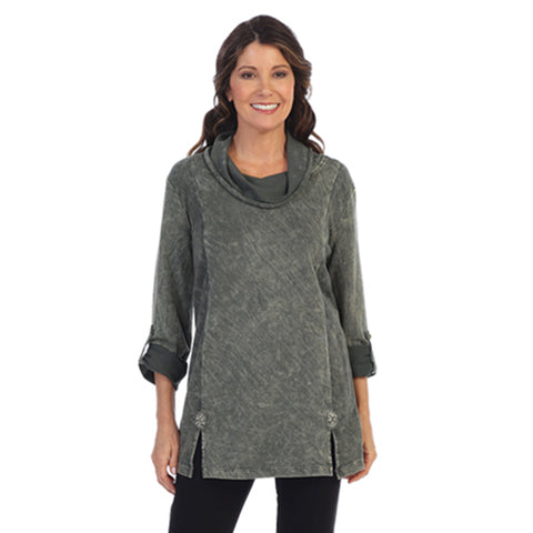 Focus Mineral Washed French Terry Cowl Neck Tunic in Olive - FT-4048-OLV