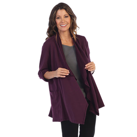 Focus French Terry Long Sleeve Cardigan in Purple - FT-4050-PUR - Sizes M & XL Only
