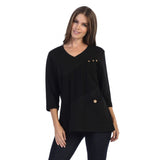 Focus Fashion French Terry V-Neck Tunic Top in Black - FT-4015-BLK - Size L Only