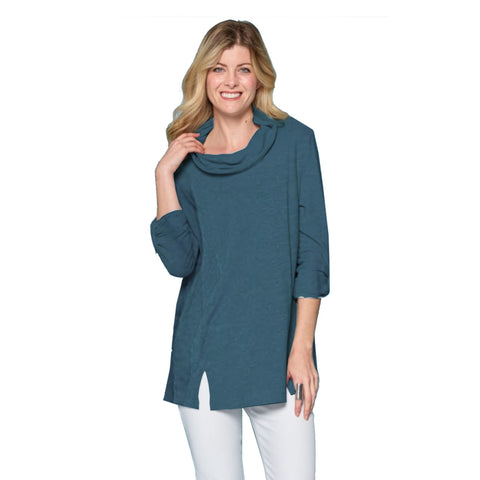 Focus Mineral Washed French Terry Cowl Neck Tunic in Dark Teal - FT-4048-DT