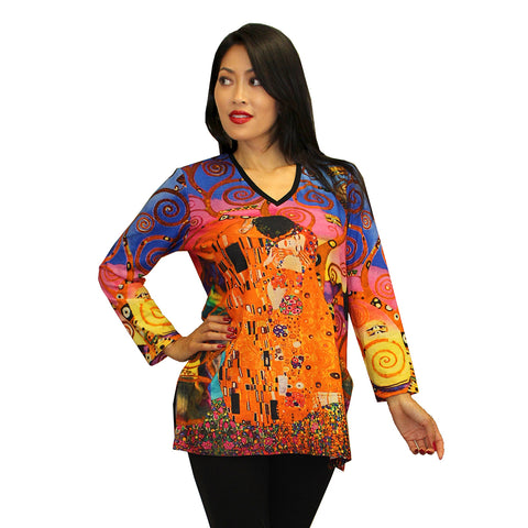 Dilemma V-Neck Klimt Inspired Cotton Knit Tunic Top - FTU-135 - Size S/M Only