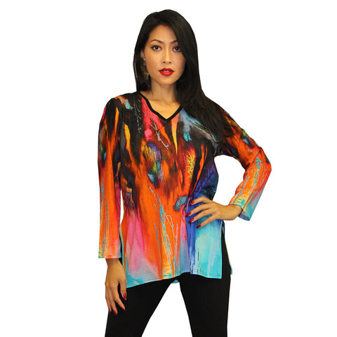 Dilemma V-Neck Rauschenberg Inspired Cotton Knit Tunic Top- FTU-137