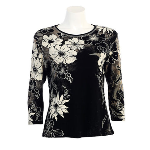 "Jess & Jane ""Flora Image"" Top in Black  14885BK"