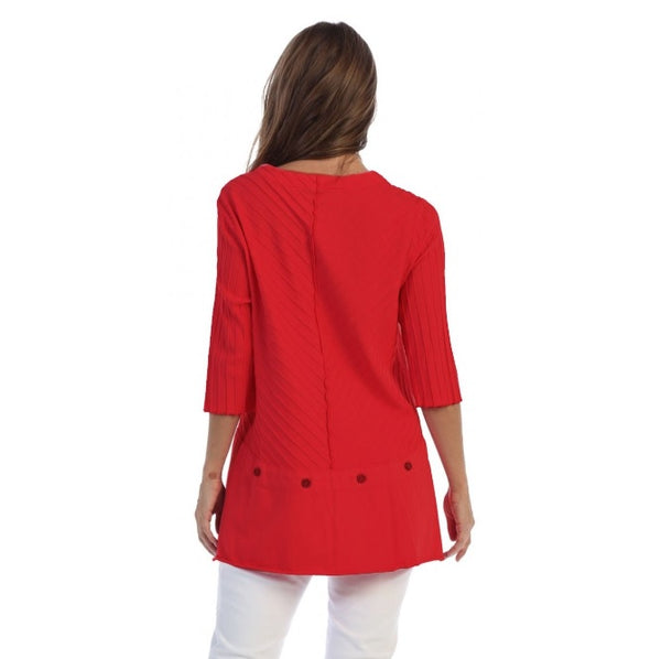 Focus Fashion Rib Textured Tunic in Red - CS-342-RD