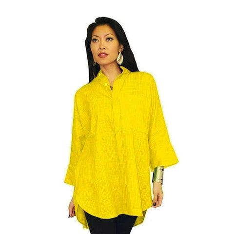 Dilemma Oversized Solid Big Shirt in Yellow - GB-5026-YLW