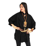 Dilemma Fashions Cotton Big Shirt in Black - GB-5001-BLK