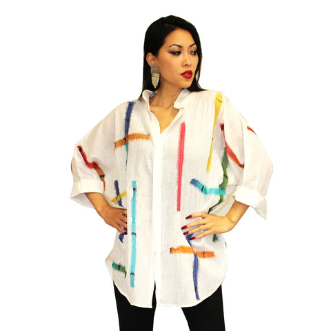 Dilemma Fashions Big Shirt with Stripe Applique in White - GDB-389-WHT