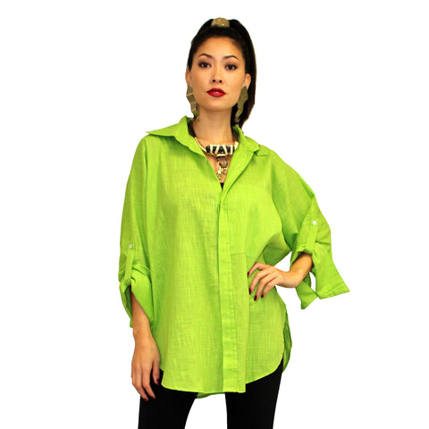 Dilemma Fashions Solid Button Front Big Shirt in Lime - GDB-527-LIME