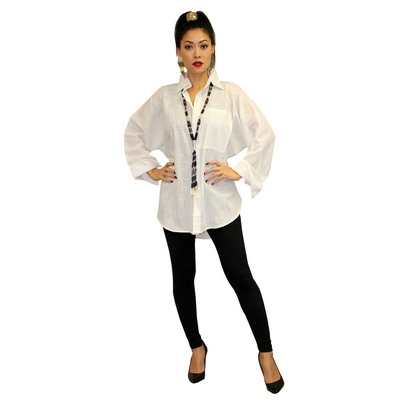 Dilemma Fashions Solid Button Front Big Shirt in White - GDB-527-WHT
