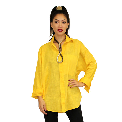 Dilemma Fashions Solid Button Front Big Shirt in Yellow - GDB-527-YLW