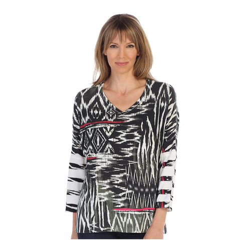 "Jess & Jane ""Navajo Art"" V-Neck Soft Knit Top - HB1-1120 - Sizes M, 2X & 3X"