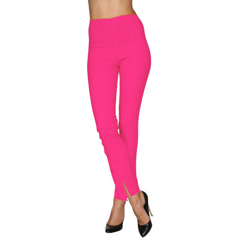 Mesmerize Pants with Front Ankle Slits and Front Zipper in Fuchsia - MA21-FUS