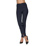 Mesmerize Pants with Front Ankle Slits and Front Zipper in Heather Blue - MA21-HBL