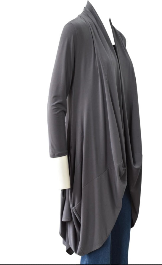 IC Collection Long Soft Knit Cardigan in Charcoal - 3138J-CHAR - Sizes L & XXL