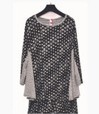 IC Collection Dots & Stripe Soft Knit Top in Grey - 3821T