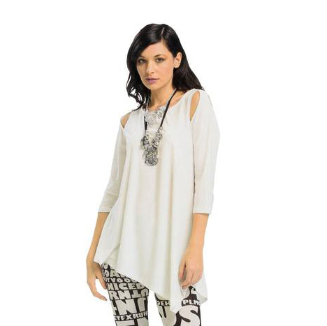 IC Collection Cold Shoulder Tunic in Ivory - 6615T-IVR -Sizes M-XXL