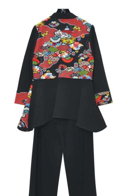 IC Collection Colorblock Zip Front Jacket w/Asian Art Print - 3664