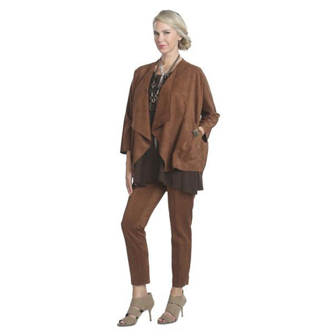 IC Collection Faux Suede Pull-On Pant in Camel  5158P-CML - Size XL Only