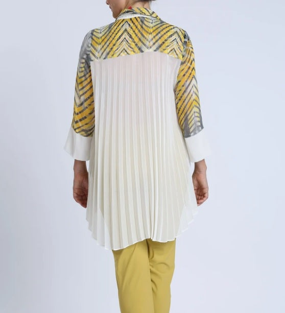 IC Collection Sheer Chevron Accordion Back Blouse in Yellow/Grey/Cream - 1463B - Size S Only