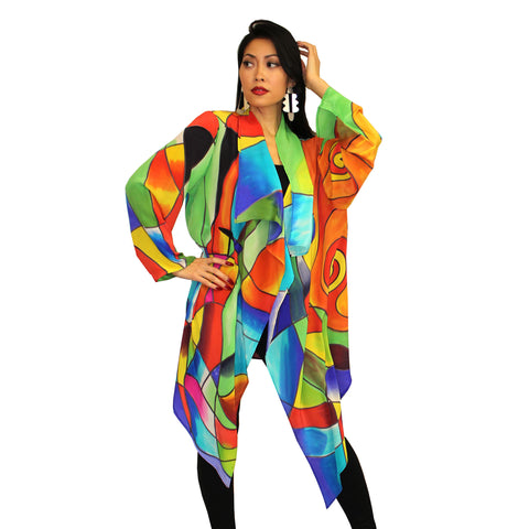 Dilemma Kandinsky Inspired Silk Crepe De Chine Long Open Front Jacket - GDJ-492-KND