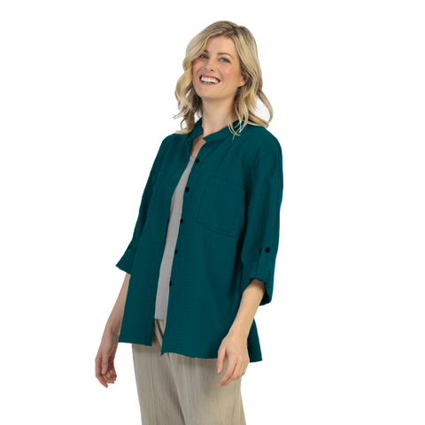 Focus Fashion Button Front Waffle Shirt in Pacific Teal Blue - CS-117-PCBL