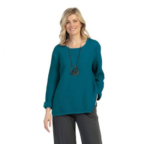 Focus Fashion Waffle Top in Pacific Teal Blue - C691-PBLU